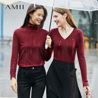 Amii极简法式套头高领毛衣2021春季新款修身打底衫女红色针织上衣