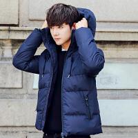男士棉衣新款韩版修身短款潮流帅气百搭冬装男外套袄子棉袄男 蓝色 M