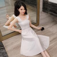 怪兽背带裙2018夏季新款韩版中长款收腰白色连衣裙小清新裙子女夏 白色