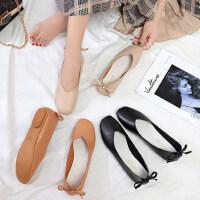 韩版休闲平底百搭单鞋女 新款后跟蝴蝶结豆豆鞋女 时尚方头浅口女鞋单鞋奶奶鞋