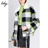 Lily2019冬新款女装撞色格纹大廓形宽松羊毛拉链毛呢外套女3920