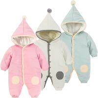 女婴儿连体衣服0岁3个月1新生儿衣服男宝宝秋冬装爬服棉衣外出服