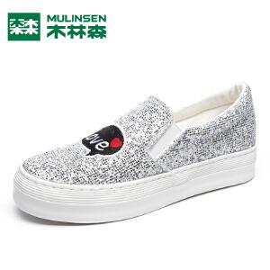 木林森女鞋特价爆款低帮休闲板鞋潮流水钻女士单鞋