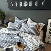 家纺北欧风全棉四件套纯棉宿舍床单人1.2米床上三件套被单被套