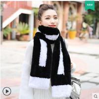 精美撞色时尚韩版双面编织长款加厚獭兔毛皮草围巾女户外加厚保暖围脖