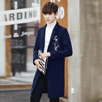 冬季新款潮流刺绣毛呢大衣男士中长款风衣男韩版修身呢子外套男装