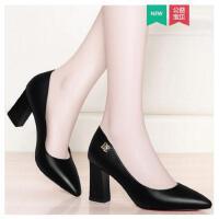 盾狐春季新款百搭粗跟单鞋黑色职业工作鞋子女士皮鞋尖头高跟女鞋LE2988A