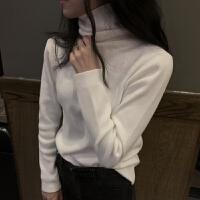 时尚新款韩版秋冬打底衫上衣女基础色百搭修身加厚保暖针织衫女 均码