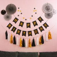 周岁生日布置派对装饰用品房间背景墙彩纸扇花拉旗儿童宝宝周岁生日宴布置