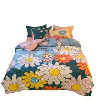 南极人100水洗棉卡通床上用品被套床单四件套少女心公主风三件套4