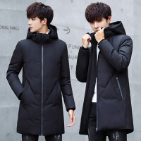 男士羽绒服中长款青少年学生大码上衣新韩版加厚宽松冬季外套 JPD8-73黑色 M