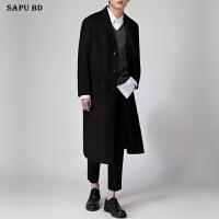 韩国新款毛呢大衣男冬季加厚长款潮男过膝大衣男宽松羊绒呢子大衣 黑色