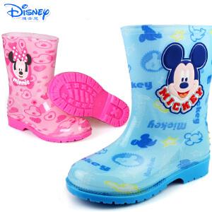 迪士尼男女通用米奇儿童装雨鞋靴卡通图案防滑抓地雨靴鞋宝宝水鞋
