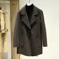 双面呢大衣女中长款冬装新款 翻领百搭一粒扣休闲毛呢外套