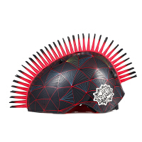 raskullz莱斯狐 3D蓝黑立方体莫霍克儿童头盔 自行车骑行溜冰轮滑护具 户外运动儿童安全帽