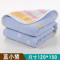 婴儿浴巾棉6层纱布秋冬季宝宝洗澡新生幼儿童吸水大毛巾毯被子J 6层蓝小猪120*150CM
