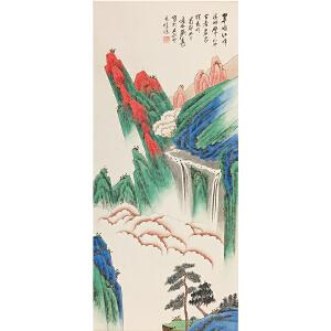 佚名《翠频红峰》纸本立轴