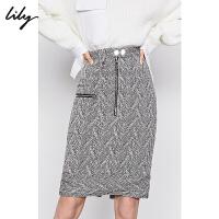 【明星同款】Lily2019冬新款立体人字纹羊毛修身包臀半身裙6936