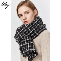 Lily2019冬新款女装经典撞色黑白格子长方形流苏围巾Z904