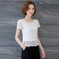 白色蕾丝上衣女夏季短袖2018新款短款勾花镂空打底显瘦收腰小衫