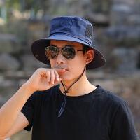 男士帽子户外钓鱼帽大沿可调遮阳帽简约渔夫帽防晒太阳帽可折叠潮