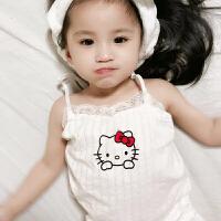 女童睡衣套装薄款1-3岁幼儿宝宝蕾丝吊带背心短裤纯棉家居服5