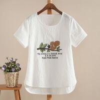 韩观白色棉麻刺绣女装短袖棉T恤上衣夏季宽松大码学生打底衫体恤