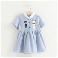 韩版童装裙子夏装女童竖条纹可爱卡通小猫连衣裙174293