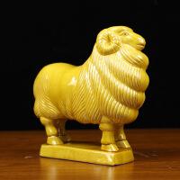 唐三彩陶瓷羊摆件 生肖招财金钱羊 三羊开泰风水家居装饰品唐三彩羊
