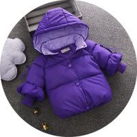女童冬装羽绒女宝宝加厚手塞棉袄外套婴儿童装0-1-2-3-4岁jyl 紫色 80cm