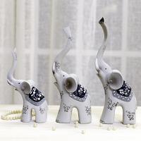 现代大象一家三口树脂摆件结婚礼物婚庆礼品家居装饰品装饰 5179树脂大象一家三口摆件