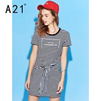 A21女装条纹短袖连衣裙 2017夏季新款女生休闲百搭显瘦收腰裙子