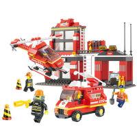 小鲁班积木 消防中心紧急出动消防车警车 儿童益智 拼插积木男孩玩具益智拼装积木