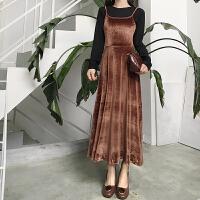 秋冬新款女装韩版复古绑带露背大摆吊带连衣裙气质修身打底背心裙