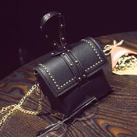 七夕礼物儿童链条斜挎包时尚铆钉包零钱包女童手提包百搭公主娃娃单肩包潮 黑色