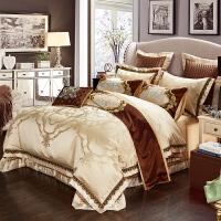 家纺欧美式床上用品全棉四件套纯棉被套双人床贡缎提花结婚十件套