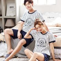 夏季情侣睡衣女纯棉短袖韩版卡通可爱甜美宽松男士家居服两件套装