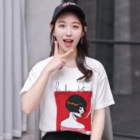 纯棉T恤上衣女2018夏季新款韩版宽松圆领图案印花t恤女短袖学生白色T恤衫