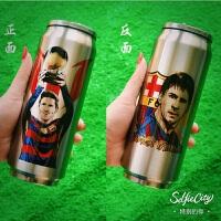 足球C罗梅X个性创意印花保温杯子运动水杯易拉罐学生球迷礼品杯