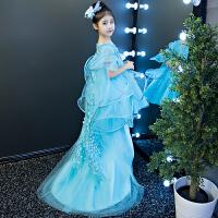 女童公主裙晚礼服模特走秀儿童主持人钢琴表演服小拖尾花童蓬蓬纱