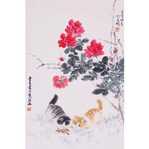 著名画家    王雪涛、曹克家合作《耄 耋 图》