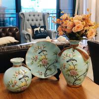 大号美式陶瓷花瓶三件套 欧式客厅插花 家居酒柜装饰品摆件