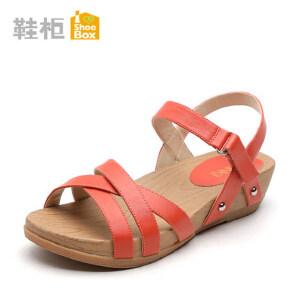 达芙妮旗下shoebox鞋柜新款时尚中跟罗马凉鞋 夏季坡跟休闲厚底魔术贴女鞋