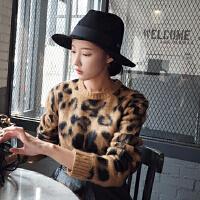 韩国东大门新款女装秋冬经典磨毛绒时尚豹纹圆领百搭针织衫毛衣潮