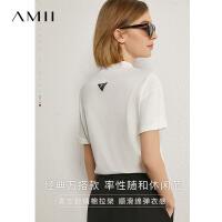 Amii极简减龄休闲T恤女2021夏新款宽松短袖上衣\预售7月5日发货