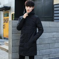 中长款棉衣男冬季棉袄子韩版学生外套男修身潮流休闲冬装 黑色 M