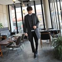 韩版中长款直筒宽松羊毛呢大衣男冬季新款男装双排扣男士外套
