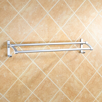 免打孔毛巾架浴室挂件卫生间浴巾架毛巾挂架卫浴五金双杆加长