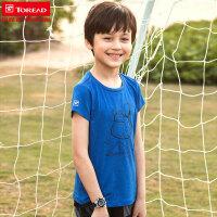 探路者童装 2018春夏新款男童舒适弹力吸湿速干短袖T恤QAJG85003