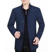 中年男士夹克中长款外套爸爸装春秋薄款中老年男装上衣春季新 宝蓝
